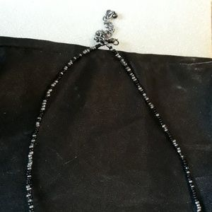 Jewelry - Long Black & silver beaded necklace